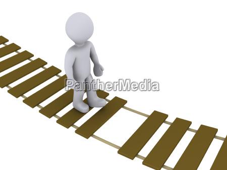 person walking on damaged bridge