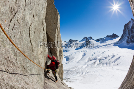 climbing in mont blanc alps