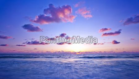 pink sunset on the beach