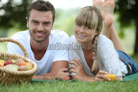couple having romantic picnic in a