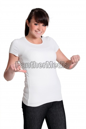 young woman with a white t