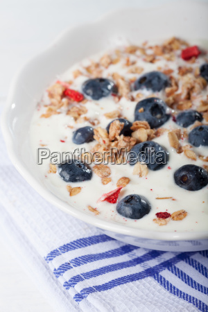 bowl with muesli with yoghurt