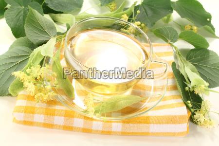linden flower tea with flowers