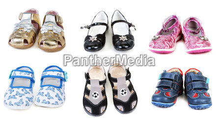 collage from six pairs baby footwear