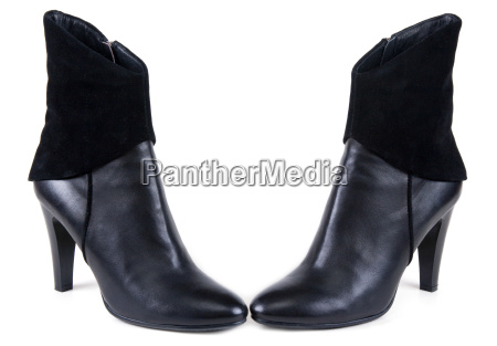 black feminine leather boots with suede