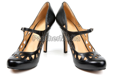 black feminine loafers on high heel