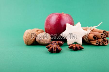 festive christmas decoration with cinnamon anise