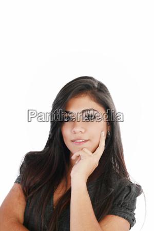 young beautiful business woman thinking