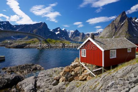 red rorbu fishing hut
