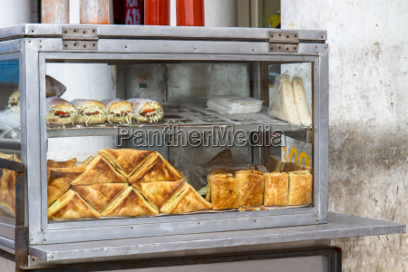 sandwiches in a display case in