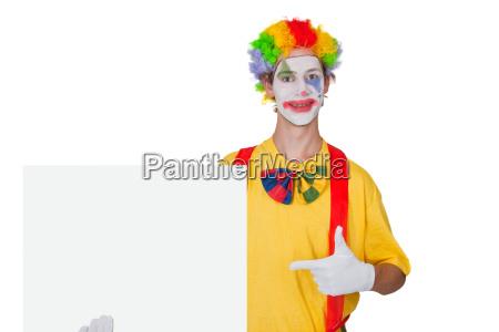 clown with billboard