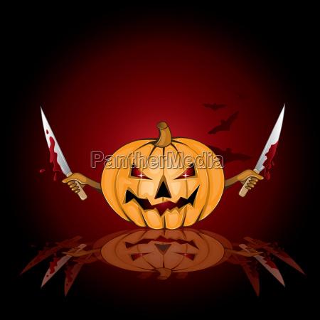halloween background with killer pumpkin