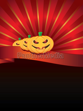 halloween background with pumpkins on ribbon