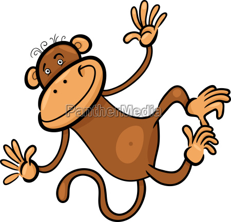 cartoon illustration of funny monkey