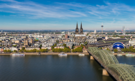 cologne skyline tilt shift effect