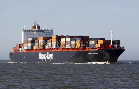 container ship at cuxhaven north sea