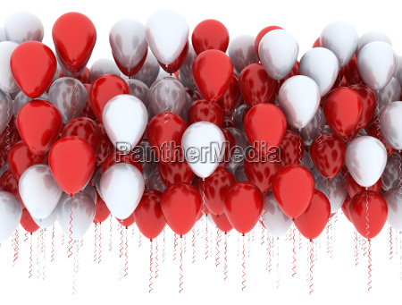 red and blue balloons in a