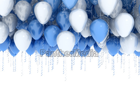white and blue party balloons isolated