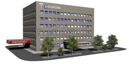 krankenhausgebaeude auf einem weissen hintergrund