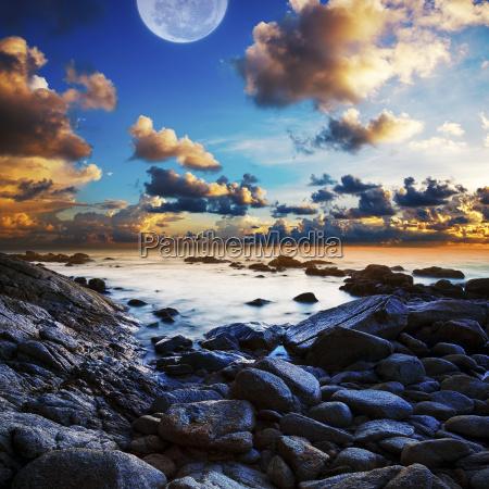 full moon seascape long exposue shot