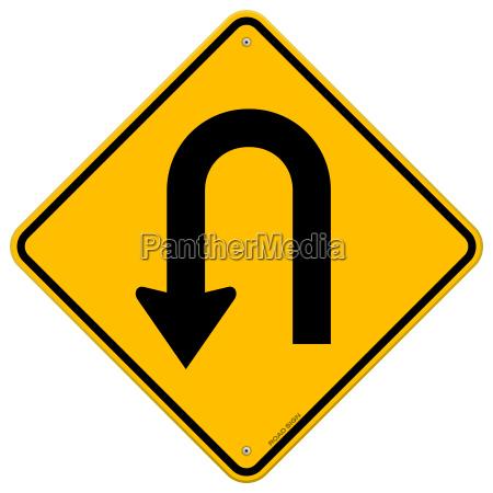 u turn roadsign
