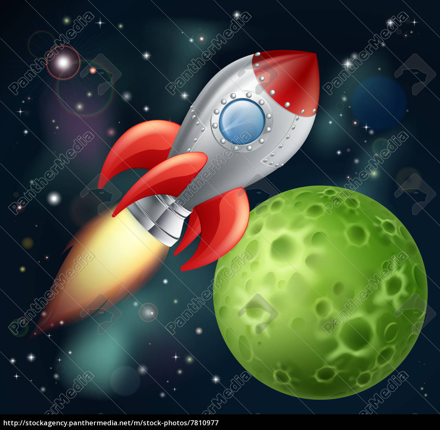 cartoon, rocket, in, space - 7810977