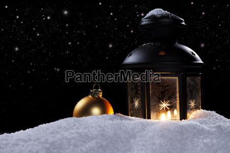 lantern with bauble under starry