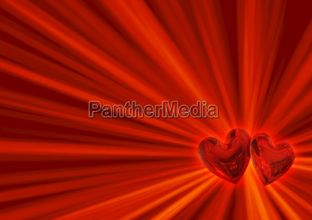 two red hearts in pair