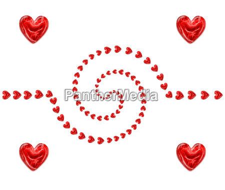 spiral of red hearts