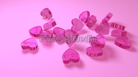 pink glass hearts as a symbol