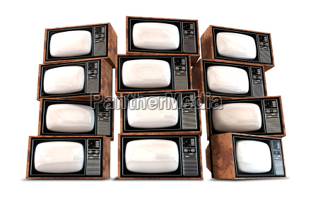 wall of vintage televisions