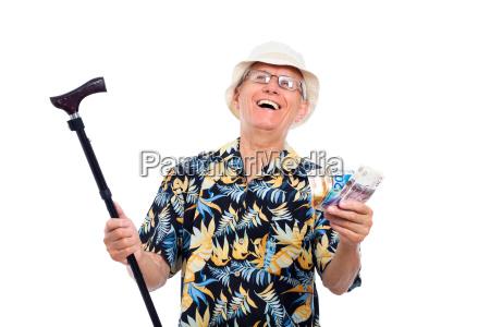 happy wealthy senior man