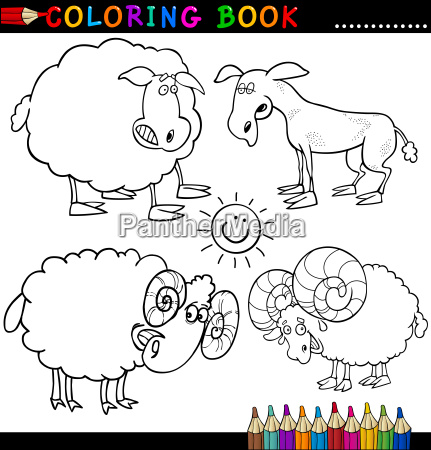 farm animals for coloring book or