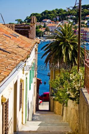 colorful narrow street in mali losinj