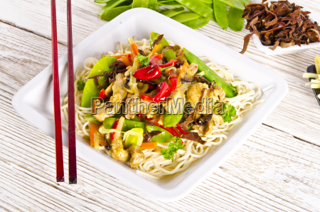 noodles with pork and vegetables in