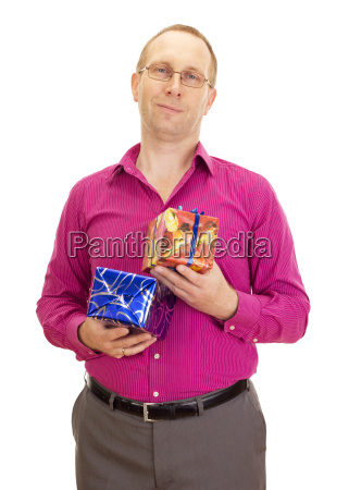 business person with two colorful gifts