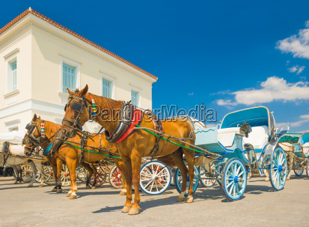 traditional horse drawn taxis on the