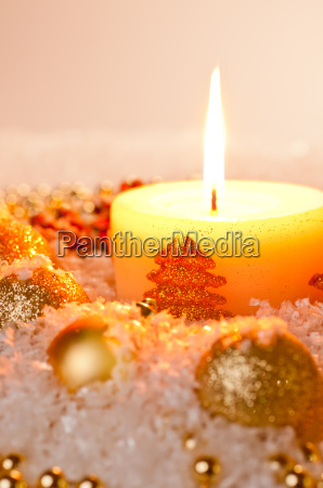 gold christmas candle flame with gold