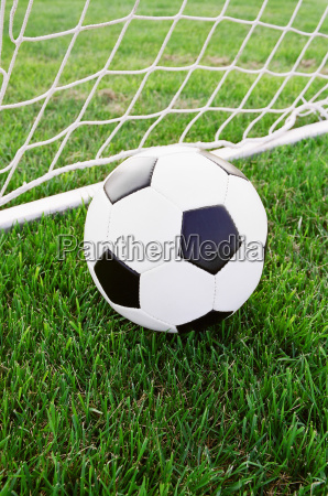 classic soccer ball in the goal