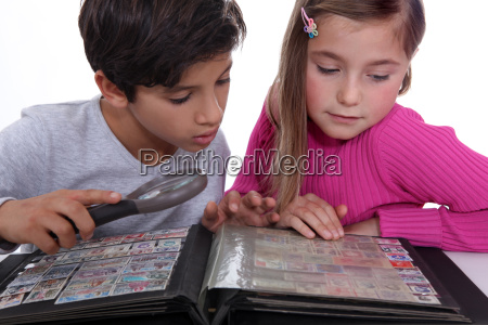 children collecting stamps