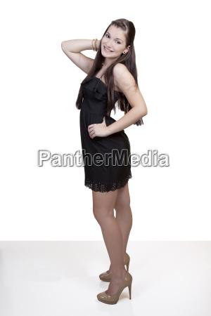 young caucasian teen girl black dress