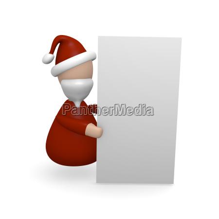 santa claus holding a blank board