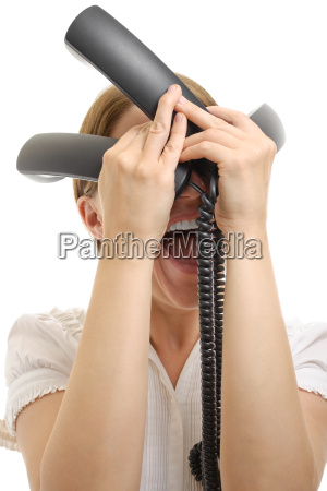 stressed woman with phone receivers isolated