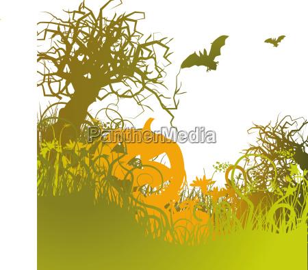 blades of grass pumpkin and halloween