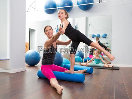 aerobics woman personal trainer of children
