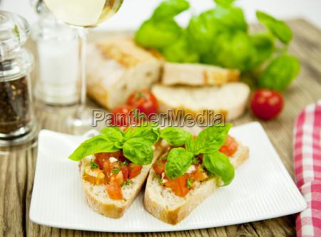 fresh italian bruschetta with tomato and