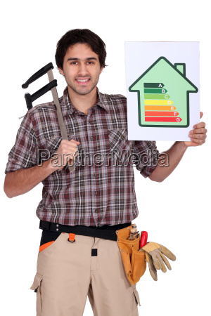 carpenter with calipers and energy rating