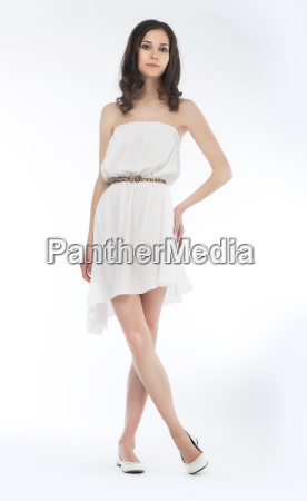 pretty woman in white dress isolated