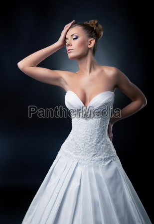 alluring sexy bride blonde fashion model