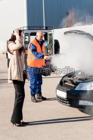 car breakdown woman get help road